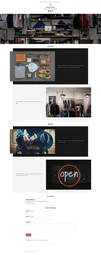 "Theme layout for ""Modern Business"", a theme found on WordPress.com"