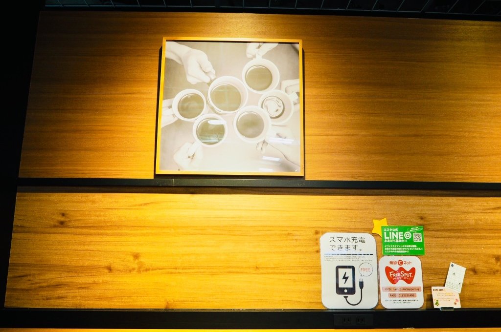 key's cafe interior art on display. portrait of cups of coffee being held.