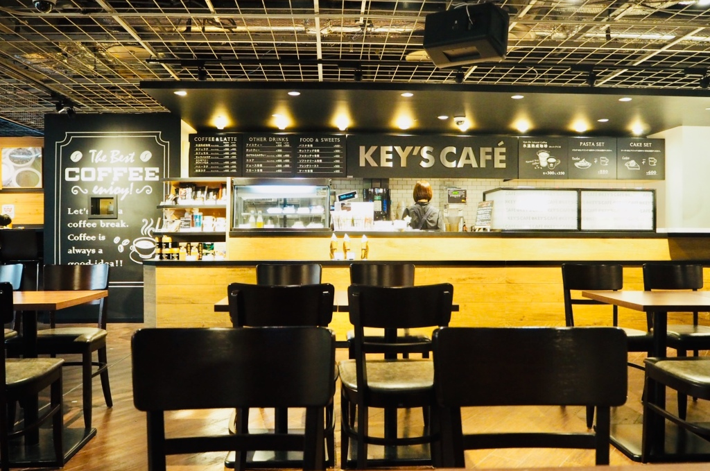 key's cafe interior. front view of cashier and bar