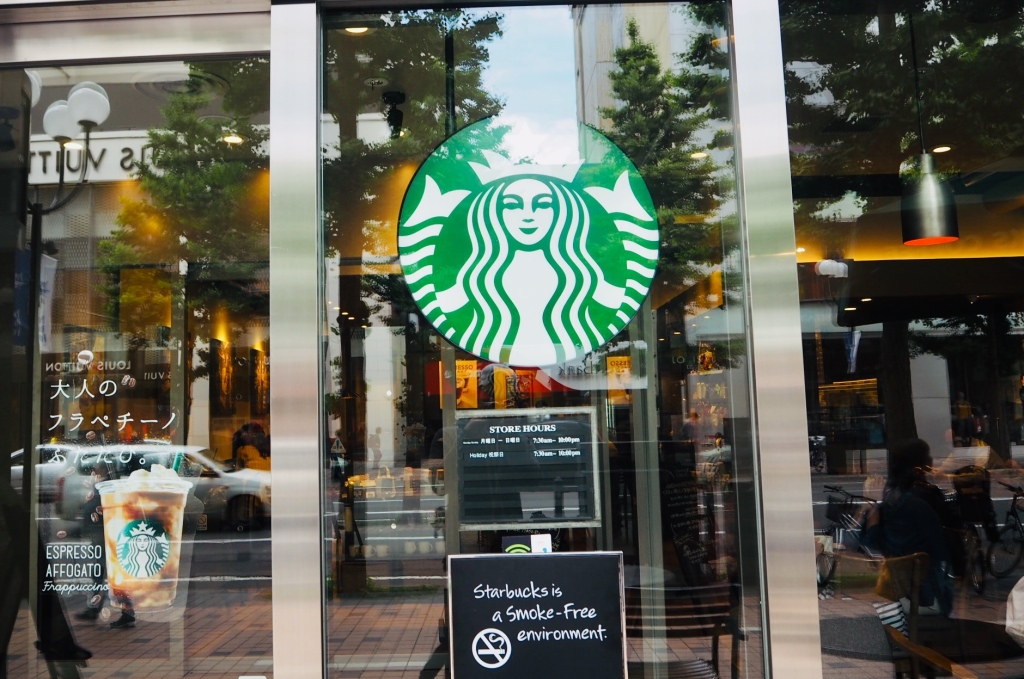 The entrance of a Starbucks cafe located in downtown Sapporo (minami 1 jo)