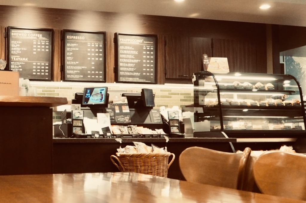 Interior view of the counter inside the Starbucks cafe located in downtown Sapporo (minami 1 jo branch)